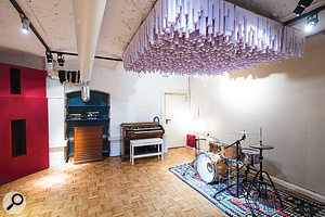 The Studio B live room, with Hammond organ and massive ceiling-mounted diffuser.