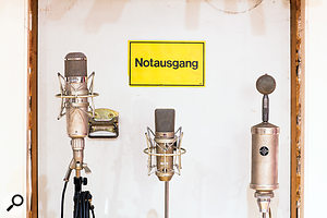 Legendary Neumann mics in Studio B: from left, U47, U67 and CMV 563a.