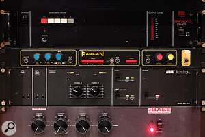 The outboard collection includes standards such as the Roland Dimension D chorus (top) as well as more unusual items like the ADR Panscan auto–panner, BBE 202R audio enhancer and Bedini Audio BASE spatial enhancer.