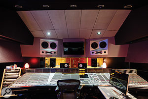 Studio A's control room is based around a large SSL J–series console.