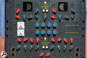 A rack full of tasty Chandler gear. From top: a  TG12413 limiter, two LTD2 compressors and a TG12345 Curve Bender EQ.