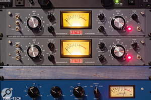 The studio also boasts a  pair of the Retro Instruments recreations of UA's classic 176 tube compressor.