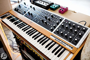 Rare keyboards at Altes Elektrizitätswerk include this Moog Memorymoog...