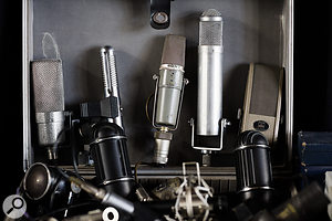 Along with the well-known classics the studio offers a huge number of more unusual microphones, such as a B&0 BM3 ribbon (second from left) and a Sony ECM-377 (centre).