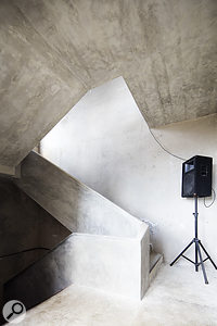 A staircase has been converted into a giant echo chamber.