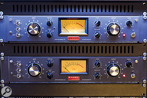 A pair of Retro Instruments 176 Limiting Amplifiers in the Studio A outboard rack.