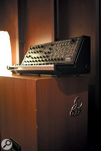 This Korg MS20 resides on the most solid of keyboard stands: an AKG BX20 spring reverb unit.