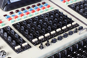The console features three-band EQ on every channel.