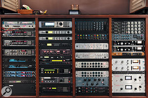 An impressive wall of outboard gear in Westlake Studio C's control room.