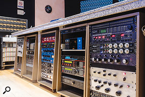 The well-stocked outboard rack in Studio A.