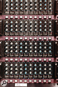 This rack contains no fewer than 40 API 550a modules, which can be inserted into each channel of the console in Studio B.