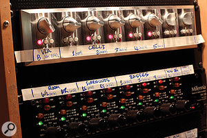 Left: 16 channels of transparent-sounding Grace and Millennia preamps in the outboard rack. Right: 48 Neve mic-preamp channels in the live room help to keep the microphone tie-lines as short as possible.