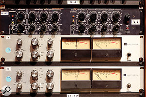 The outboard collection in Studio A includes rare pieces such as the ITI ME230 parametric EQ, predecessor of the legendary Sontec, and a pair of Electrodyne limiters.
