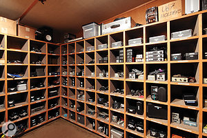 The microphone locker, holding Allen Sides' invaluable collection of vintage valve and ribbon microphones.