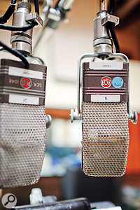 A pair of RCA BX44 ribbon microphones set up for a vocal session in Studio B