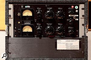 A Fairchild 670 stereo compressor/limiter in Studio B. According to the sticker between the VU meters, this unit was previously owned by the German Deutsche Grammophon company, probably for classical music recordings.