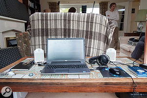 My improvised control area for the session, complete with borrowed home-cinema-style speakers and aback-breakingly low table!