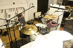Here you can see the drum miking in detail. Notice how the right–hand overhead mic is in the shadow of the cymbal as far as the hi–hat is concerned.
