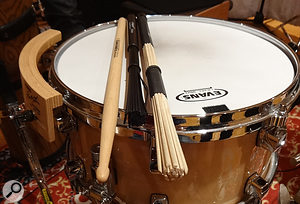 Concerns about the balance and timbre of specific percussion instruments in different arrangements were frequency solved without recourse to miking changes — for example by switching between different drumsticks.