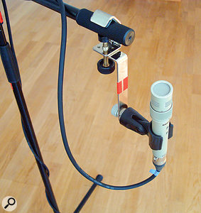 A pair of K&M 238 mic-mounting brackets were very useful on this session to fix the room mics to both microphone and lighting stands.