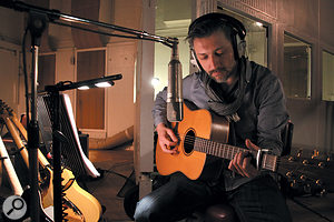 Basel Hallak records a late-night acoustic guitar overdub through another Neumann U67.