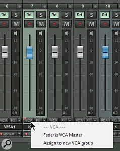 Screen 3: Almost any fader within the Samplitude mixer can act as a VCA master, or be assigned to a  VCA group.