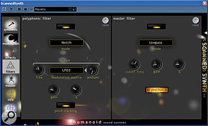 Although it's located on the Filter page, the Psycho button actually affects the synthesis engine, permitting the scanned model to adopt extreme configurations.