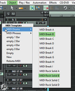To test our drum-kit routing, we can load a MIDI loop into the Independence Pro track.