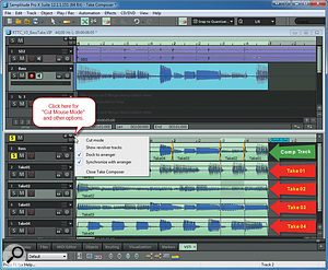 The Take Composer opens in the lower half of the Samplitude window.