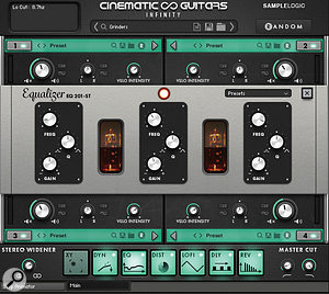 Cinematic Guitars is well–stocked with effects options for additional sound shaping.