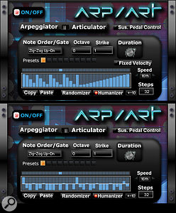 This composite screenshot shows the two modes of Fanfare's note arpeggiator. In Arpeggiator mode, each step acts as both anote trigger and avelocity value for that note. In Articulator mode, the arpeggio runs continuously, with each step controlling just the velocity value for each note. All arpeggio and effects sequencers have 10 preset locations for step patterns, each of which can be custom drawn, as were these examples.