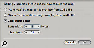Settings for mapping samples chromatically in EXS24.