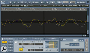 The loop editor in Kontakt showing a loop's start and end points.