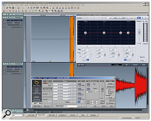 Using Object-based editing to eliminate a noise in a piano recording: first the noise is isolated, then it is EQ'd and reduced in level.