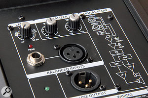 The rear panel of the Auro D412 houses the input and output connections, alevel control, the two‑band EQ, and power‑on and peak LEDs.