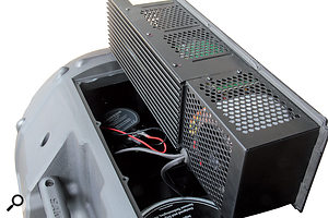 The amp module in the D412 can be removed with just afew screws, allowing easy access to the drivers within.
