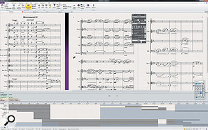 Sibelius 7.5 in all its glory. Notice the new Timeline view docked to the bottom of the window.