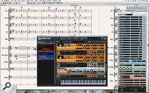 Here you can see the new Kontakt Player 2 plug-in with instruments from Sibelius Sounds Essentials loaded to play back the current score. The updated Mixer window shows Strips for each staff in the score (in blue), along with Virtual Instrument Strips (in green), Group Strips (in purple), Effects Bus Strips (in red) and the Master Volume Strip (in black).