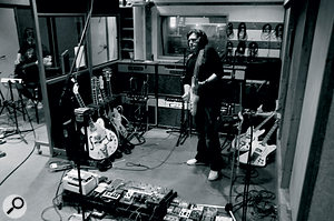 Charlie Burchill's guitar corner at Rockfield, where three Matchless amps were set up in a row to capture both a 'main' guitar sound and stereo effects.