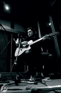 Charlie Burchill tracking a 12‑string guitar at Rockfield.