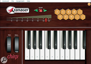 A laptop QWERTY keyboard cost-effectively becomes a music-input keyboard with Tanager's Chirp.
