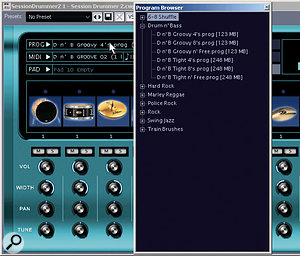 Session Drummer 2 has its own browser, where you can load the available Programs by simply clicking in the 'Prog' field.