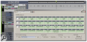 The WAI (Where Am I?) strip is green and on the far left, to the left of tracks 1-8. Correspondingly, the ACT Controller plug-in shows that rotary controls 1-8 are controlling pan for T1-T8 (tracks 1-8), and sliders 1-8 are controlling volume for T1-T8.