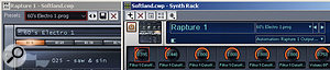 If a synth's programs don't show up in the Synth Rack preset selector, type the name of the preset into the black Presets field on the instrument itself, then click on the Save button. The preset will now appear in the Synth Rack's preset selector.