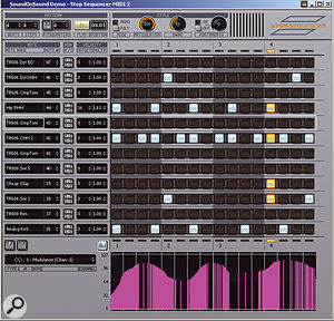 This instance of the new Step Sequencer view is being used to create a pattern for a TR606 drum-machine patch in the Roland-derived Groove Synth plug-in. Note how drum names appear in the note column; normally, note names would be displayed.
