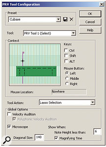 The PRV mouse tool configuration window, where 20 parameters and various actions are assigned to your mouse for each of the three tools.