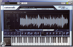 DropZone will load two audio files of practically any format you care to throw at it. Note the keyboard: when a REX loop is loaded, the first octave plays the loop in semitone transpositions, while the remainder of the highlighted keys play each individual slice. The same goes for an attached MIDI keyboard.