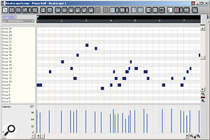 When you call up the piano roll view for a track recorded using a MIDI keyboard to trigger slices, Slices and Pads are shown along the left instead of piano notes.