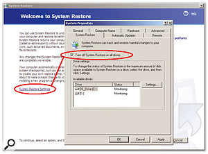System Restore is another Windows accessory that can access your hard disk at inopportune times, and can also be turned off if you know where to look.