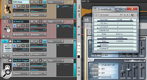 The complete setup for processing a bass with the effects section of the Z3TA+ and controlling its filter (and pan) with the envelope from a drum track that's been converted to MIDI data via the midiAudioToCC VST plug-in.